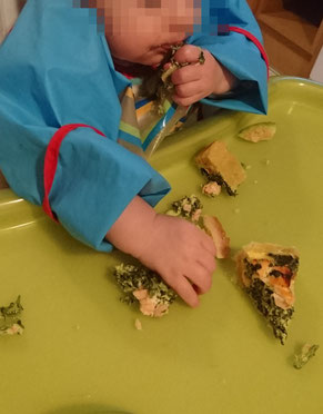 BLW Baby led weaning fleisch fisch Rezept Anfang Start Rezepte Quiche Lachs Spinat breifrei Fingerfood
