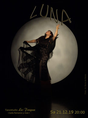 "Titelfoto zur Flamenco-Aufführung ""LUNA"" (zu Deutsch ""Mond"") am 21.12.19 im Tanzstudio La Fragua in Bonn / Color-Foto by Boris de Bonn"