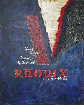 Kalligrafie Feuer Mela Phoenix aus der Asche