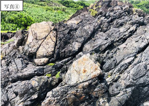 写真④のメランジュは、泥岩(頁岩?)層 中に砂岩が混合している。