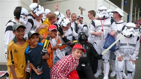Naser Hussain, stormtroopers and Swiss U11 players at Edgebaston in 2009