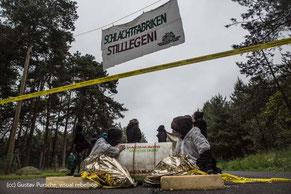 AktivistInnen von Mastanlagen Widerstand blockieren Schlachthofbetrieb