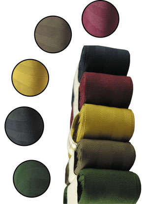 decorative ribbon no. 21, light brillance, width 9, colours: golden yellow, bordeaux, brown, dk. blue, green. (while stocks last)