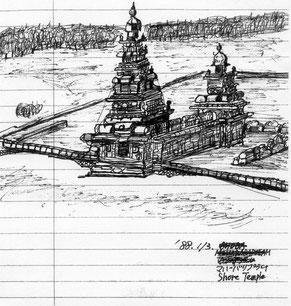海岸寺院のスケッチ