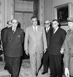 Syrian-Egyptian unity talks. From left to right: Shukri al-Quwatli (behind him is Sabri al-Asali), Gamal Abdel Nasser, unknown, Salah al-Din Bitar and Afif Bizri