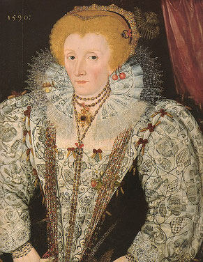 Queen Elizabeth I in 1590. She is wearing a dress decorated with blackwork and gems, ruff with a pansy and cherry in the hair. Elizabethan fashion (flickr, picture by Lisby)