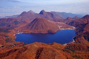 紅葉の榛名湖上空写真