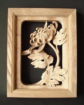 木彫り 菊