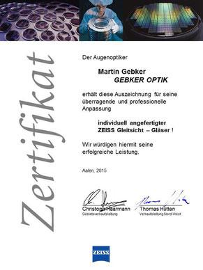 Gebker Optik - Spezialist für individuell angefertigte ZEISS Gleitsicht Brillengläser
