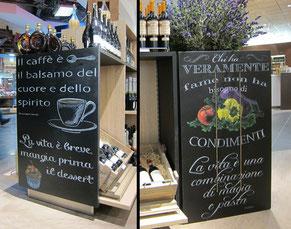 Entwurf und Anfertigung von Kreidetafeln für eine Shopmöblierung, Flughafen Bologna