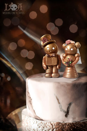 Steampunk Robot Wedding Cake Toppers