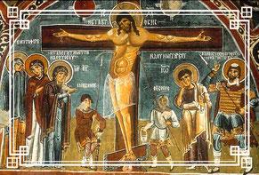 Göreme Fresken 12. Jhr. Jesus Christus Kreuzigung Kappadokien