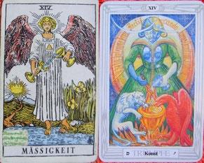 Kartenquelle: links: Rider Waite Tarot / rechts: Crowley Tarot