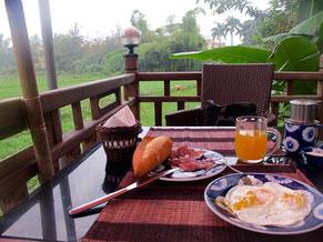 das Frühstück mit Brot und frisch gebackenen Eiern