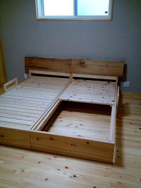 総ヒノキのベッド