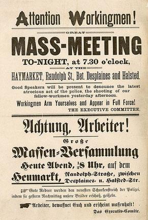 Streikaufruf, 04.05.1886, Chicago, vergrössern, >KLICK<