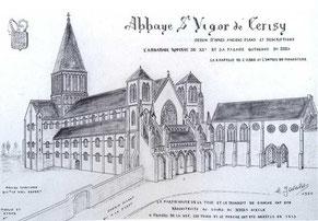 Dessin de Henri Javalet reconstituant l'église et l'entrée de l'abbaye au XIIIe siècle