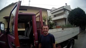 Arbeiter Baustelle Transporter Fahrer Trampen