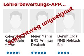 GÖD hats´s vergeigt: Datenschutzbehörde hat den Weg für Lehrerbewertungs-App freigegeben  Bild:spagra