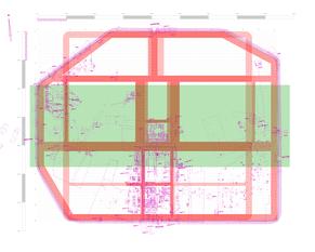 Abb.11: Grabungsplan Oberaden mit hypothetischen Ideallager. Von Eckenabschneidungen verschonter Bereich durch die Lagermitte (grün).
