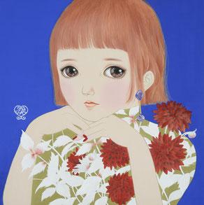 「生花」絹・岩絵具・水干絵具 S4