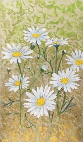 小笠原明代「マーガレット~花巡り~」紙本着彩・箔 27.3x16cm