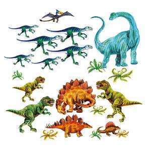 Wandaufkleber mit vielen Dinos - liebevoll handgemaltes Motiv