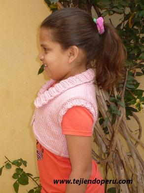 chaleco para niñas tejido en dos agujas o palitos