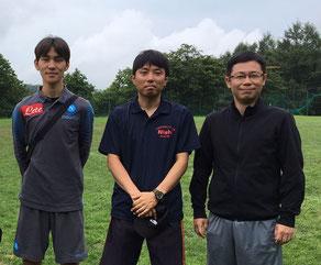 左から野神コーチ、横山先生、黒澤先生。