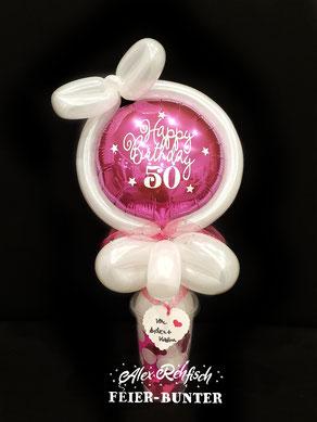 C 012 -  Happy Birthday - in vielen Farben und Formen möglich - 14,90€ passende Becherfüllung mit Ballongewicht, Konfetti und Federn + 1,50€