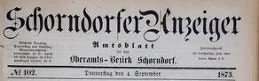 Schorndorfer Anzeiger für den Oberamtsbezirk Schorndorf. 1862-1872 Anzeiger für Stadt und Land, 1873-1900 Schorndorfer Anzeiger.