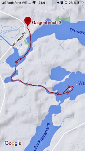 Paddeltour Mecklenburgische Seenplatte Wangnitzsee Priepertsee Drewensee