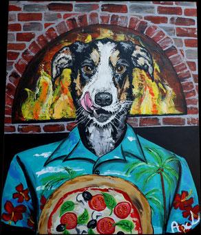 Chien habillé chemise hawaïenne colorée devant four pizzas en pierre pizza marguerite au feu de bois chien qui se lèche les babines