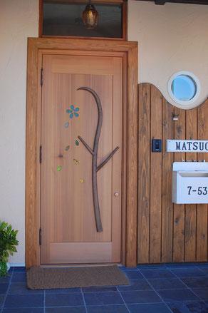 リフォーム 木製玄関ドア 店舗 施工例 オリジナル 個性的