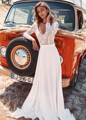 robe de mariée à manches en dentelle yvelines paris