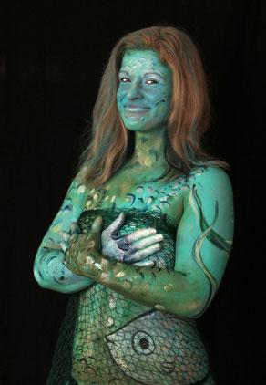 Bodypainting Nixe, Mermaid, Meerjungfrau