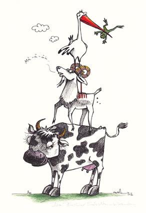 Eine kuh steht auf der Wiese. Auf ihr meckert eine Ziege, auf deren Rücken steht ein Storch, der wiederum einen Frosch im Schnabel hält.