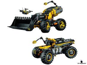 Das Lego Paket 42081 ist ein 2-in-1-Modell, der Radlader ZEUX lässt sich in einen Lader PEGAX umbauen.