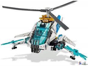 Die Besonderheit im Lego Paket 70673 ist ein Knopf auf der Unterseite des ShuriCopters, damit sich der Rotor dreht.