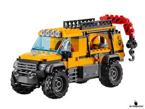 Die Besonderheit im Lego Paket 60161 Dschungel Forschungsstation ist ein Beobachtungslastwagen mit Gelenkkran, Platz für das Kajak auf dem Dach und für das Motorrad am Heck.