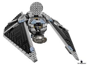 Die Besonderheiten im Lego Paket 75154 sind die grossen verstellbaren Flügel, ein von vorne und von oben zugängliches Minifiguren-Cockpit, ein aufklappbarer Heckstauraum sowie zwei federunterstützte Shooter.