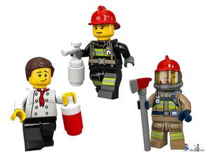 Die Besonderheit im Lego Paket 60214 Feuerwehreinsatz im Burger Restaurant sind drei Feuerwehrmänner, die keine Furcht kennen.
