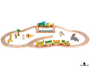 Im Paket Janod ist enthalten ein 33-teilige Eisenbahn Box mit Schienen, Zug und diverse Figuren.