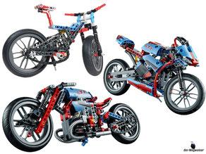 Die Besonderheit im Lego Paket 42036 ist, dass es ein 2-in-1-Modell ist. Das heisst es kann daraus ein Strassenmotorrad oder ein Retro-Bike gebaut werden.