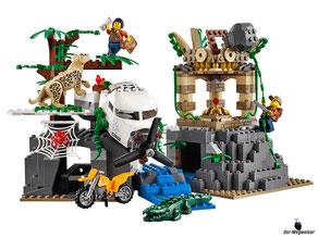 Im Paket Lego 60161 Dschungel Forschungsstation sind 813 Einzelteile, ein Lastwagen ein Hubschrauber ein Pilot, zwei Fahrer, vier Wissenschaftler/Forscher,ein Leoparden, ein Krokodil, eine Schlange, ein Frosch und zwei Spinnen enthalten.