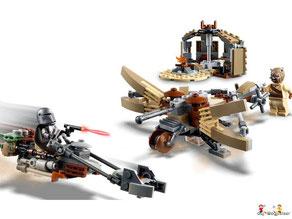 Im Paket Lego 75104 sind 1005 Einzelteile, 1 Kylo Ren, 1 General Hux, 1 First Order Officer, 1 First Order Crew, 1 First Order Stormtrooper Officer, 2 Blaster-Pistolen, 1 Blaster, 1 Kylon Rens, 1 Lichtschwert, 4 Helme und 1 Elektrofernglas enthalten.