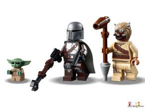 Die Besonderheiten im Lego Paket 75104 sind die aufklappbaren Laderäume vorne, hinten und unten, die federunterstützten Shooter an den Flügeln, die abnehmbaren Ausrüstungsregale sowie eine tolle Funktion zum Ausfahren der Flügel.
