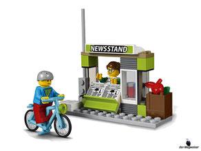 Die Besonderheit im Lego Paket 60154 Busbahnhof ist ein Kiosk mit Tagesauktelle Zeitschriften.