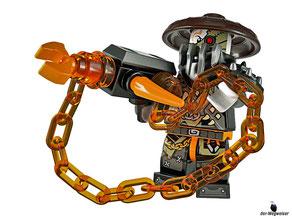 Die Besonderheit im Lego Paket 70653 ist Matel der unbesiegbarer Kämpfer mit seiner furchterregender Kettenwaffe .