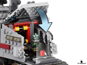 Die Besonderheiten im Lego Paket 75151 sind die 10 drehbaren Räder mit flexibler Aufhängung, rotierende Geschütztürme, federunterstützte Shooter, einen ausfahrbaren Beobachtungsposten, zwei Cockpits und mehrere Seitenwände, die sich herausklappen lassen.
